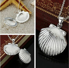 925 Silver Photo Shell Locket Pendant Water Wave Chain Necklace 20""