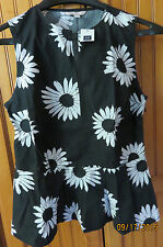 GAP Black White Cotton Daisy slit-neck Sleeveless peplum top Size 2 NWT Side Zip