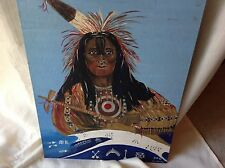 Vintage Native American Indian Chief Portrait Painting Signed By Artist Mickel