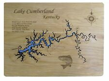 Wooden 2D Cut Engraved Small LAKE CUMBERLAND, KY Map Standout WALL ART