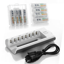 8 Bay AA/AAA Battery Charger +4x 2800mAh+ 4x 1100mAh NiMH Rechargeable Batteries