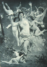 NAKED NUDE WOMAN GIRL BREASTS & CUPID ANGELS ~ 1893 Erotica Sexy Art Print RARE!