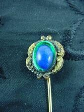 ART NOUVEAU CZECH PEACOCKS EYE FOIL GLASS STICK LAPEL PIN  GOLD FILL    #1389