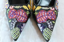 Ellemenno Carnival Size 8.5M Black Multi Color Stitched Beaded Pointy Toe Mules