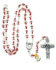 NEW MADE IN ITALY POPE FRANCIS RED GLASS HEART ROSARY NECKLACE VEDELE CROSS