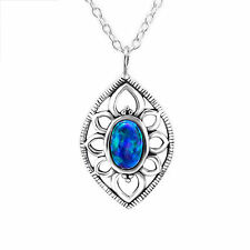 925 Sterling Silver Marquise necklace with created Peacock Opal pendant charm