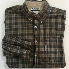 Columbia Flannel Shirt L Large Green Plaid Button Down Top Mens 100% Cotton