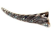 Beautiful Metalic Flamingo Long Hair Clip Vintage Style with Blue Stones On It
