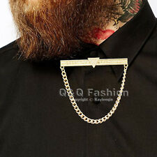Mens Triangle Dot Chain Shirt Collar Tie Bar Brooch Pin Top Jewelry Fancy Dress