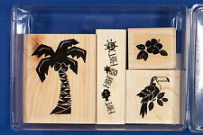 Stampin' Up Tropical Heat Wave 1996 Set of 4 Rubber Stamps Toucan Palm Tree Hot