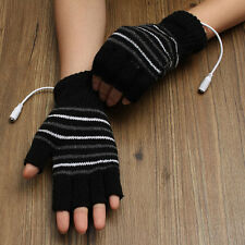 5V USB Powered Half Finger Heating Heated Winter Hand Warmer Gloves, US STOCK