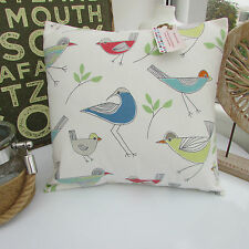 CUSHION COVER MADE IN JOHN LEWIS STICK BIRD COTTON FABRIC RETRO NATURE DUCK EGG