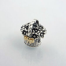 790960  PANDORA STERLING SILVER & 14 KARAT GOLD FLOWER BASKET BEAD RETIRED BOX