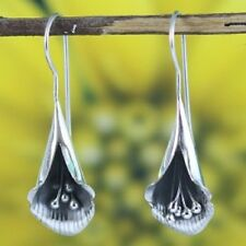 Bali Earrings 925  Sterling Silver Petal  Dangle Earrings   Handcrafted