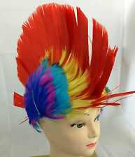 Red Mohawk Punk Kids Fancy Dress Wig Adults Party Disco Stag Hen Do Novelty Wigs