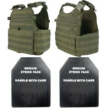 Condor MOPC-001 Tactical Plate Carrier Vest with SAPI Dummy Ballistic Plates OD