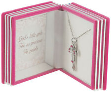 Girls Cross Necklace Pendant Pink Bible Gift Box Silver Plated Baptism Easter