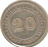 Offer 1927 Straits Settlements KGV 20 cents very high grade. details! scare??