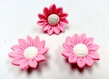 10 Fimo Polymer Clay Pink White Daisy Flower Fimo Beads 30mm