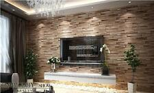 Luxury wood blocks brick wall effect vinyl wallpaper Roll living room Mural