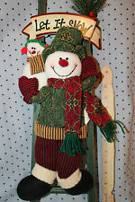 Let it Snow Sign Snowman Dad & Small on Ladder Richly dressed with gold threads