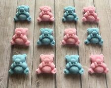 12 Commestibile Pasta di Zucchero Orsacchiotto Decorazioni per torta-Blu e Rosa-Baby Shower, NEW BABY