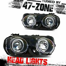 For 94-97 Acura Integra Halo Black Housing Clear Projector Lens Head Lights Pair