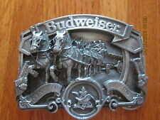 BUDWEISER CLYDSDALES BEER BELT BUCKLE METAL 3D HORSE W-42 USA NOVELTY DRINK