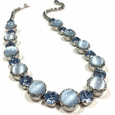 Vintage Weiss Moonglow Cabochon & Large Blue Rhinestone Necklace Silver jj15o