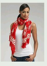 Juicy Couture Red Poinsettia Daisy Polka Dot Long Logo Scarf Shawl Wrap NWOT $75