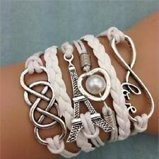 Women Antique Silver Love Heart Tower Friendship Pearl Leather Charm Bracelet