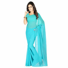 Indian Ethnic Wear Plain Blue Colour Faux Chiffon Sari With Blouse