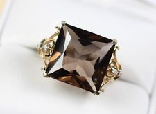 Large Natural Smokey Quartz & Diamond Accent Ring set in 10k Gold size 7.75