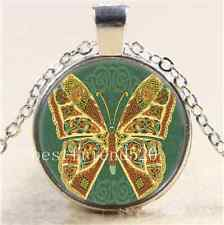 Celtic Gold Butterfly Cabochon Glass Tibet Silver Chain Pendant Necklace