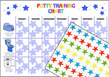 Boys Potty Training Reward Chart including 63 Star Stickers and A4 Chart