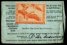 WASHINGTON 1944 Resident Hunting & Fishing License RW11 UNSIGNED State Duck -744