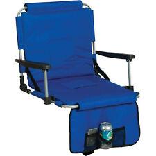 Blue Portable Arm Rest Stadium Chair, Folding Cushion Sport Bleacher Seat Pad