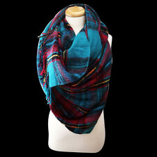 Teal and Multi Colored Plaid Oversized Blanket Scarf