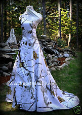 NEW Camo Wedding Gown/REALTREE or MOSSY OAK SATIN - 'Abigail' MADE ONLY IN USA!