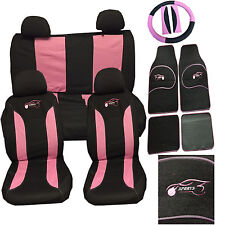 Fiat 500 Punto Uno Car Seat Cover Set 15 Pieces Sports Racing Logo PINK 305