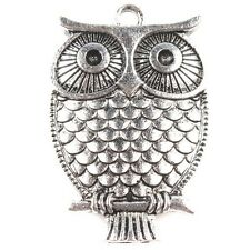 15x Cute Style Antique Silver Owl Shape Charms Alloy Pendants Findings Making JJ
