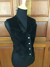 Wilson's Leather Suede Vest Silver Snap Front Sleeveless Sz Small
