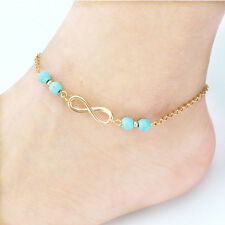 Bohemia Turquoise Beads Gold Infinity Ankle Anklet Bracelet Beach Foot Jewelry