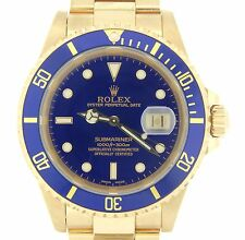Rolex Submariner Date SOLID 18KT 18K Yellow Gold Watch Blue Dial Bezel Sub 16618