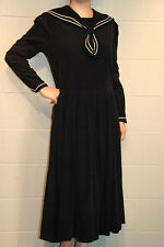 US 10 UK 14 Navy Blu Corduroy Vtg Laura Ashley Nautical Sailor Collar Midi Dress