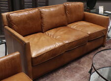 "Set of three item 71"" L sofa chair distressed light brown leather spectacular"