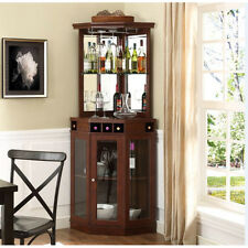Corner Bar Cabinet Wine Bottle Storage Stemware Rack Liquor Home Pub Furniture