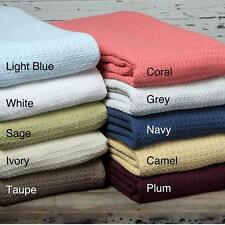 Woven Cotton Throw Blanket with Breathable Basket Weave King Size Many Colors
