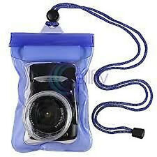 Underwater Digital Camera Waterproof Case Dry Diving Housing Pouch Bag blue