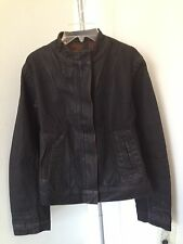 New Rick Owens Slab WFO6022 Black Wax Coated Denim jacket jeans sz m